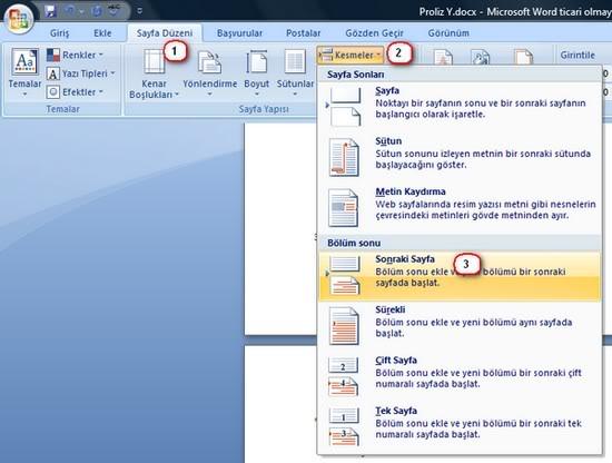 Word'de Sayfa Numarasını İstenilen Sayfadan Başlatmak